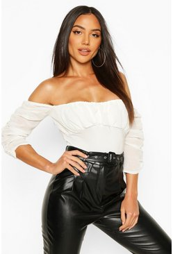 Mesh Ruched Puff Sleeve Off The Shoulder Body, Ivory