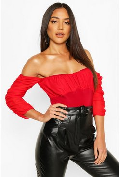 Womens Red Mesh Ruched Puff Sleeve Off The Shoulder Body