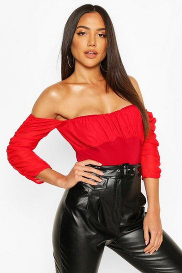 Red Mesh Ruched Puff Sleeve Off The Shoulder Body