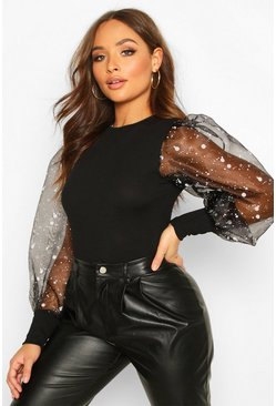 Smudge Print Organza Puff Sleeve, Black, DAMEN