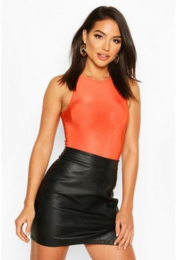 Womens Burnt orange High Neck Soft Slinky Bodysuit