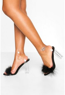 Black Feather Clear Heel 2 Parts