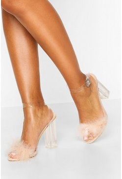 Feather Clear Heel 2 Parts, Nude