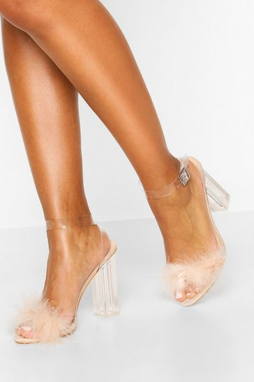 Nude Feather Clear Heel 2 Parts