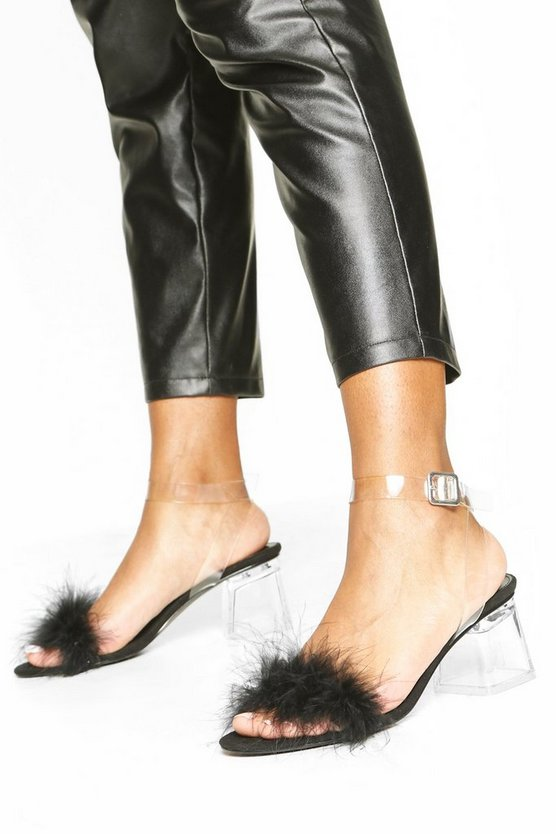 Black Feather Low Clear Heel 2 Parts