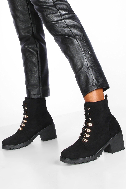 Womens Faux Fur Lined Block Heel Hiker Boots - Black - 3