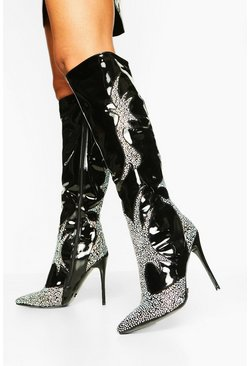 Womens Black Diamante Pointed Knee Boots