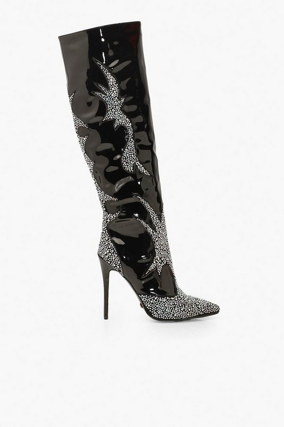 Diamante Pointed Knee Boots
