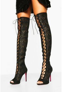 Black Lace Over The Knee Boots