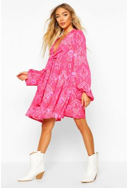 Womens Pink Paisley Print Tie Front Skater Dress