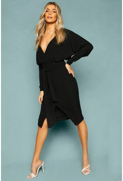 Black Recycled Rib Off The Shoulder Tie Midi Dress
