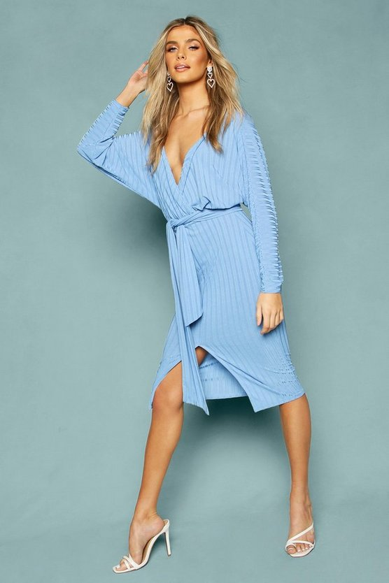 Recycled Rib Off The Shoulder Wrap Midi Dress by Boohoo