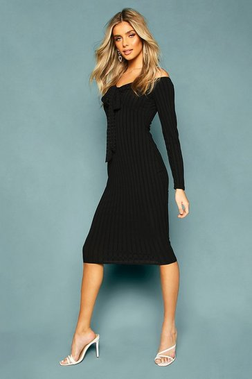 Womens Black Recycled Rib Off The Shoulder Wrap Midi Dress