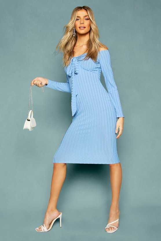 Blue Recycled Rib Off The Shoulder Wrap Midi Dress