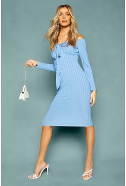 Recycled Rib Off The Shoulder Wrap Midi Dress, Blue