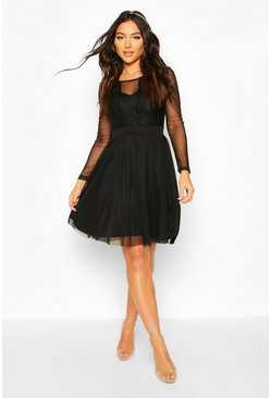 Mesh Long Sleeve Lace Skater Dress, Black