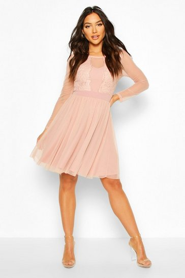 Womens Blush Mesh Long Sleeve Lace Skater Dress