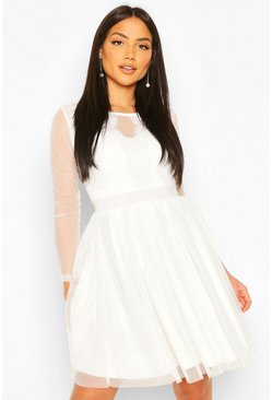 White Mesh Long Sleeve Lace Skater Dress