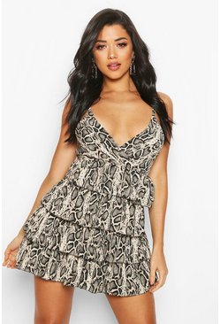 Womens Brown Snake Print Ruffle Mini Dress
