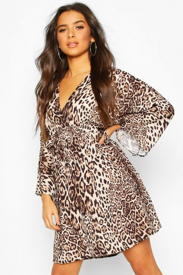 Womens Brown Leopard Print Kimono Sleeve Skater Dress