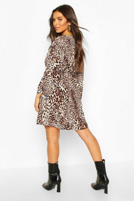 Leopard Print Kimono Sleeve Skater Dress