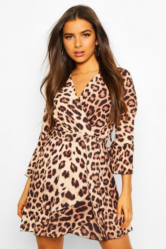 Brown Leopard Print Wrap Skater Dress