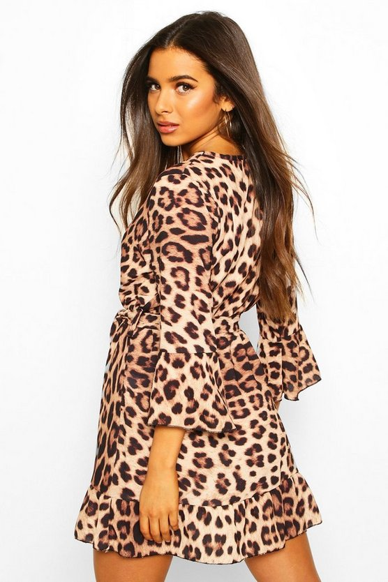 Leopard Print Wrap Skater Dress