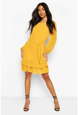 Mustard Belted Ruffle Skater Dress