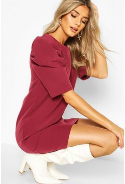 Womens Mauve Puff Sleeve Shift Dress