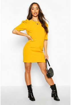 Dam Mustard Puff Sleeve Shift Dress