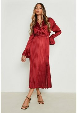 Womens Berry Satin Pleated Midaxi Dress