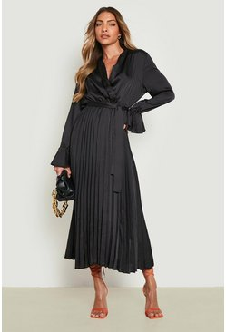 Womens Black Satin Pleated Midaxi Dress