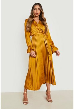 Womens Mustard Satin Pleated Midaxi Dress