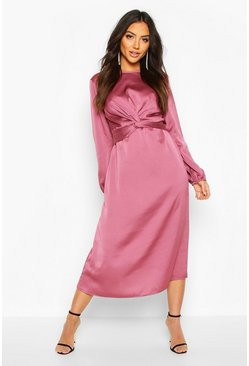 Mauve Twist Front Midi Dress
