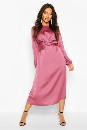 Womens Mauve Twist Front Midi Dress