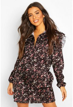 Womens Black Floral Print Ruffle Detail Shirt Dress