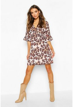 Leopard Print Ruffle Smock Dress, Brown, DAMEN