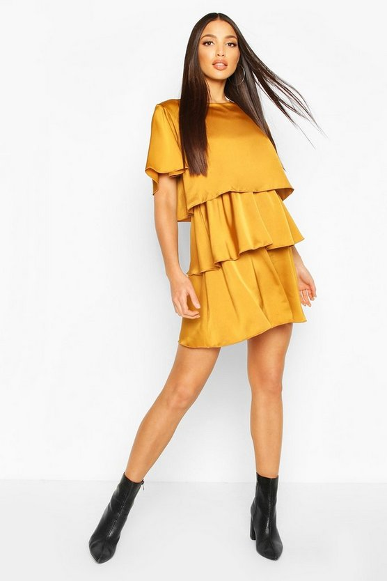 Womens Mustard Ruffle Tiered Smock Dress