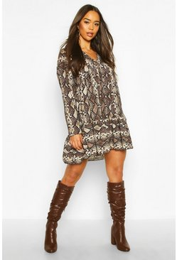 Womens Brown Snake Print Smock Dress