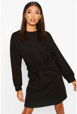 Womens Black Twist Detail Sweat Dress