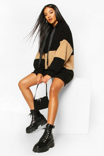 Black Borg Colour Block Hooded Sweatshirt Dress