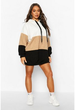 Cream Borg Colour Block Hooded Sweatshirt Dress