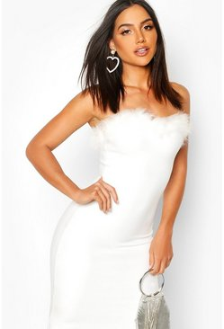 Feather Trim Bandeau Bandage Mini Dress, White, ЖЕНСКОЕ