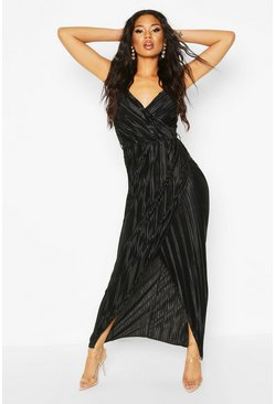 Womens Black Pleated Wrap Maxi Dress