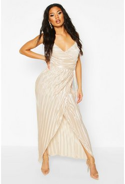 Womens Champagne Pleated Wrap Maxi Dress