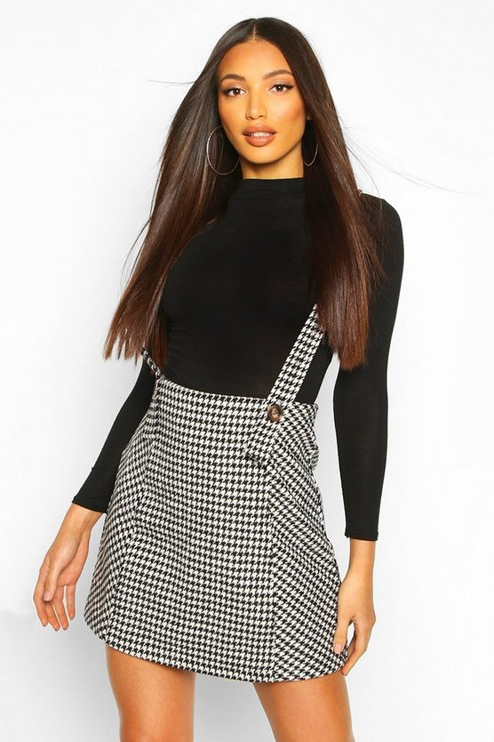 Black Dog Tooth Button Detail Pinny Dress