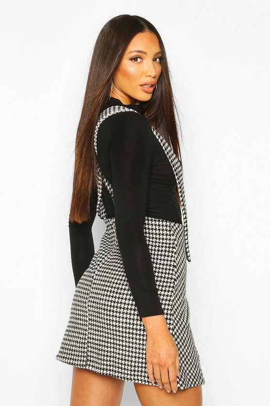Dog Tooth Button Detail Pinny Dress