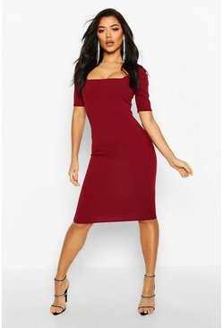 Berry Puff Sleeve Midi Dress