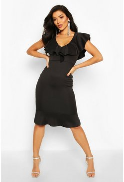 Black Frill Neck Fishtail Midi Dress