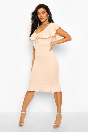 Blush Frill Neck Fishtail Midi Dress